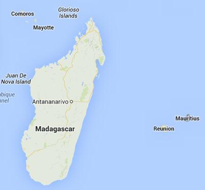 Madagaskar beside Reunion and Mauritius
